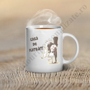 Cana personalizata Casa de Piatra, cani personalizate pentru nunta, cani personalizate