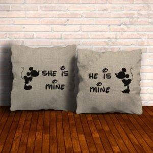 Perne canepa Mickey Minnie, perne personalizate cupluri, idei cadouri personalizate