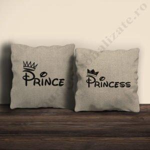 Perne canepa Prince Princess, perne personalizate cupluri, idei cadouri personalizate
