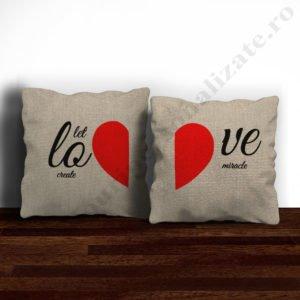 Perne canepa pereche Love, perne personalizate cupluri, idei cadouri personalizate
