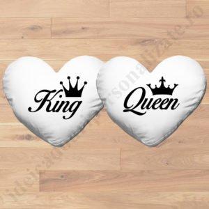 Perne inima King Queen, perne personalizate pentru cupluri, idei cadouri personalizate