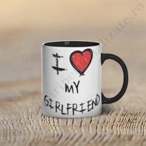 Cana Love my girlfriend, cani cupluri, cani personalizate pentru cupluri, idei cadouri personalizate