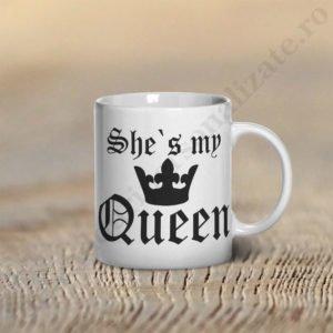 Cana My Queen, cani cupluri, cani personalizate pentru cupluri, idei cadouri personalizate